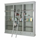 GREY FAYENCE LIBRARY BOOKCASE W/LADDER