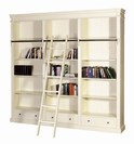 CREAM FAYENCE LIBRARY BOOKCASE W/LADDER